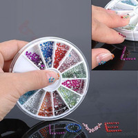 Envío gratis 12 colores 1.5 / 2.0 / 2.5 / 3.0mm CRYSTAL Nail ART Acrílico Brillo RHINESTONE Nail Art Decorations Mayoristas