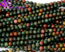 "Wholesale Flowers India - Natural Genuine Dark Green Red India Blood Stone Jasper Round Loose Stone Beads 4-14mm 15.5"" 03595"