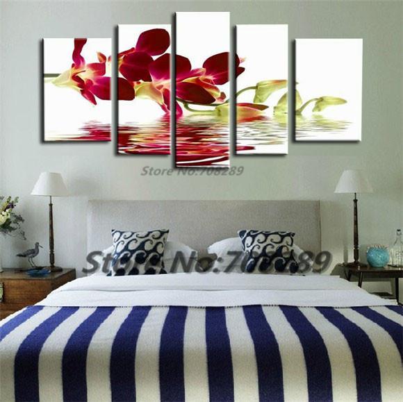 Gros peint à la main enchanteur fleur rouge orchidée paysage décoration de la maison Art peinture à l'huile peintures modernes Toile Salon Photos cadeaux