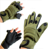 Wholesale 1 pair three fingers out fishing gloves winter palm no slip warm ice fishing gloves army green camouflage