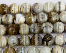 """Wholesale Discount Eye - Discount Wholesale Natural Gray Lace Eye Agate Round Loose Stone Beads 3-18mm Fit Jewelry DIY Necklaces or Bracelets 15.5"""" 03512"""