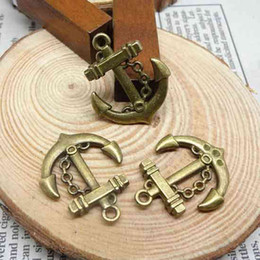 Wholesale Anchor Charm Tibetan - 50Pcs mix 5style Tibetan Silver Bronze Tone anchor Charms Pendants 25x29.5mm Wholesale