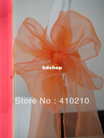 Wholesale Chair Covers Peach Sash - Peach organza chair sash\organza chair tie \chair bow\spandex chair cover