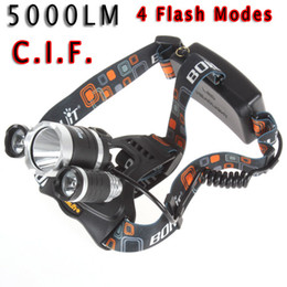 Wholesale Bike Led Headlight Cree - 2015 Low-cost short 5000LM JR-3000 3X CREE XML T6 LED Headlamp Headlight 4 Mode Head Lamp + AC Charger for bicycle bike light outdoor Sport