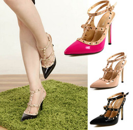 Wholesale Women Fashion Shoes Large Size - Hot Women Pumps Ladies Sexy Pointed Toe High Heels Fashion Buckle Studded Stiletto High Heel Sandals Shoes Large Size