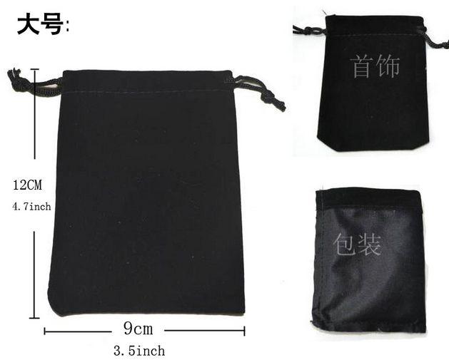 plus taille cadeau de bijoux en flanelle de velours noir sacs de poche Cordon fin