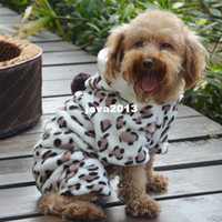 Wholesale Cat Jumpsuits - Soft Pet Dog Puppy Cat Clothes Fleece Leopard Print Costume Coat Jumpsuit Hoodie LX0203Free shipping&DropShipping