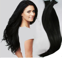 "Human Hair Extensions Jet Black Canada - Wholesale - 14"" - 24"" 100% Human PU EMY Tape Skin Hair Extensions 2.5g pcs 40pcs&100g set #1 jet black DHL FREE"