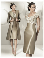 brides dresses sale 2018 - 2016 Hot Sale Elegant Sheath Party Dress Lace Satin Mother Of The Bride Dress Knee-Length Dress With Jacket