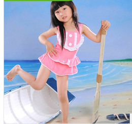 Wholesale Swimwear For Babies - Fashion children's swimsuit suspender lace fablala skirt Siamese swimwear for baby girl kids pink beach swimsuit child spa swimwear 7089
