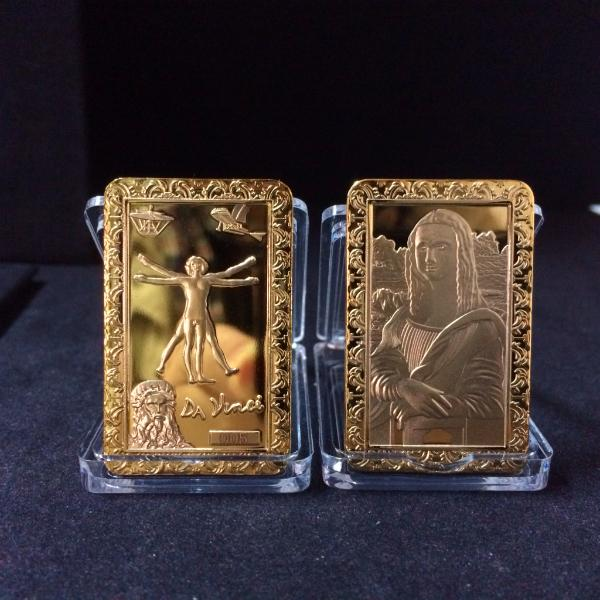 Factory Whoelsale Free Shipping Mona Lisa and DaVinci High Quality Commemorative Gold Plated Bar Collectable Gift Souvenir Bullion