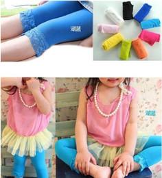 Wholesale Wholesale Velour Pants - 2014 Fashion New Girls Children's Lace Leggings Candy Colors Tight Princess Leggings Pants Kids' Elastic Lace Tight Pants 14colors C1983