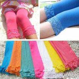 Velour Leggings Canada - 2014 Girl Velvet Legging Kids Candy Color Lace Leggings Girls Fashion Summer Tights Cute Dress Socks 14colors For Choose Free Shipping C1983