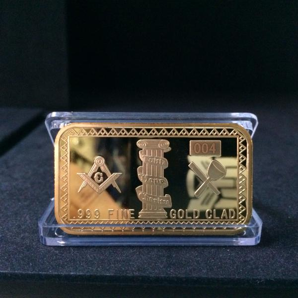 Masonic Symbols Magnificen Bullion Bars Gold Plated 1 oz Bar Souvenir Gift Masonic Items 2017 New arrival