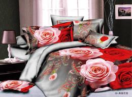 3d Bedding Set White Rose Australia - 2015 ywxuege 3D Beautiful Red Rose Floral Bedding sets Duvet Quilt Cover Bed sheet 4pcs set bed in a bag Bedlinen Bed Clothes home textile