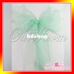 """Wholesale Mint Chair Sashes Wedding - Free Shipping 50 Pieces Brand New Mint   Aqua Green 7""""x108"""" Organza Chair Sash Bow Wedding Party Supply Professional Decorations"""