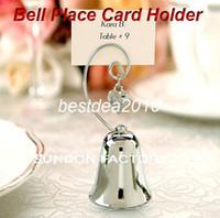 encantos de cromo al por mayor-Fedex Envío gratis Venta al por mayor Encanto Chrome Bell Place Card / titular de la foto con la boda del encanto del corazón que cuelga Proveedores