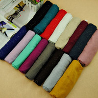 Wholesale Wholesale Long Muslim Shawl - 2015 new design women printe glitter cotton shawls viscose plain pure color wrap long muslim head wrap scarves scarf 10pcs lot