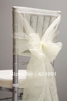 Wholesale Organza Hoods For Chairs - High Quality Ivory Organza Chair Cover Hood &Back Cap for Wedding Event Decoration