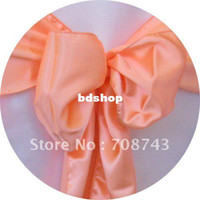 Wholesale Chair Covers Peach Sash - Free shipping - peach satin chair cover sash  satin sash