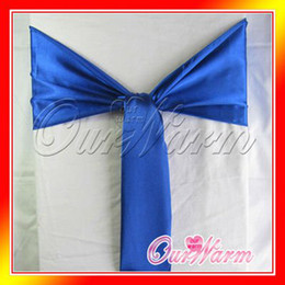 "Wholesale Royal Blue Satin Sash Chair - Free Shipping 50 Pieces Royal   Cobalt   Dark   Deep Blue 6""x108"" Satin Chair Cover Sash Wedding Party Supply Decor Many Colors"