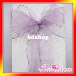 """Wholesale Organza Chair Sashes Lavender - Free Shipping 50 Pieces Lavender   Lilac   Light Purple 7""""x108"""" Organza Chair Sash Bow Wedding Banquet Supply Decorations Colors"""
