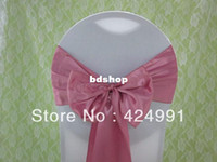 Wholesale Sashes For Chairs Hot Pink - 100pcs Hot Sale Dusty Pink Satin Chair Sash For Weddings Events &Party Decoration