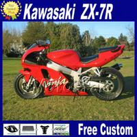 kawasaki ninja zx7r karosserie großhandel-Motorradverkleidungen für 1996 - 2003 eingestellt ZX7R KAWASAKI Ninja ZX-7R 96-01 02 03 rot schwarz Karosserie Verkleidungssatz mit 7 Geschenken WT30