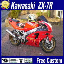 KawasaKi motorcycle fairing Kits zx7r online shopping - ABS fairing set for KAWASAKI Ninja ZX R ZX7R red black fairings kit ZX R motorcycle