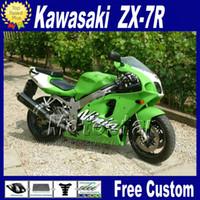 zx7r 1997 grün großhandel-Kunststoff Verkleidungskit für KAWASAKI Ninja ZX-7R 1996 - 2003 grün schwarz Verkleidungskits 96-01 02 03 ZX7R ZX 7R mit 7Geschenken