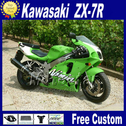 2019 zx7r 1997 verde Kit de carenagem de plástico para KAWASAKI Ninja ZX-7R 1996 - 2003 kit de carenagem de cor verde preto 96-01 02 03 ZX7R ZX 7R com 7 compartimentos zx7r 1997 verde barato