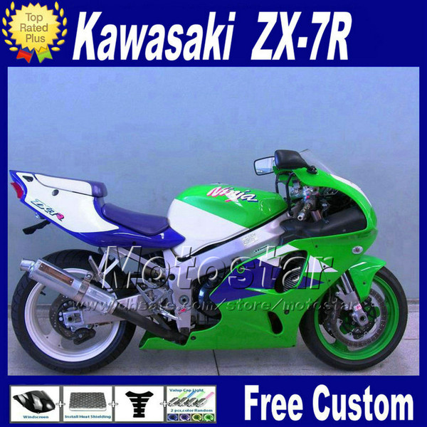 ABS fairing for KAWASAKI Ninja ZX-7R 1996 - 2003 ZX7R blue green fairings kit ZX 7R 96 97 98 99 00-03 motorcycle parts