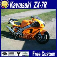 Wholesale Kawasaki Zx7r Orange - ABS fairing set for KAWASAKI Ninja ZX-7R 1996 - 2003 ZX7R black orange fairings kit ZX 7R 96 97 98 99 00-03 motorcycle parts WT38 + 7 gifts