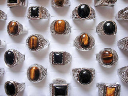 Wholesale Tiger Ring Band - Mixed Styels Lots Big Tiger-eye stones Silver Plated Men's Band Ring Fashion Jewelry R0030