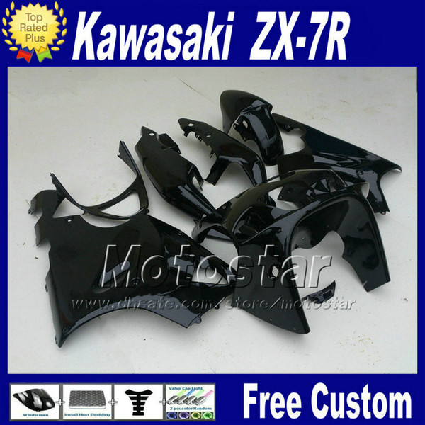 ABS fairings body kits for 1996 - 2003 ZX 7R KAWASAKI Ninja fairing ZX-7R full glossy black bodywork set ZX7R 96-01 02 03