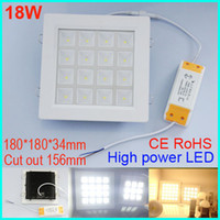 Wholesale Downlight Out - High Power 18W LED Panel Ceiling Light Downlight AC100-240V Warm Cool white Indoor lighting 180mm cut out 156mm Grid square Ceiling Lighting