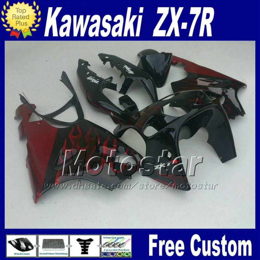 ABS fairing for KAWASAKI Ninja ZX-7R 1996-2003 ZX7R red flame in black fairings kit ZX 7R 96 97 98-02 03 motorcycle 7 gifts