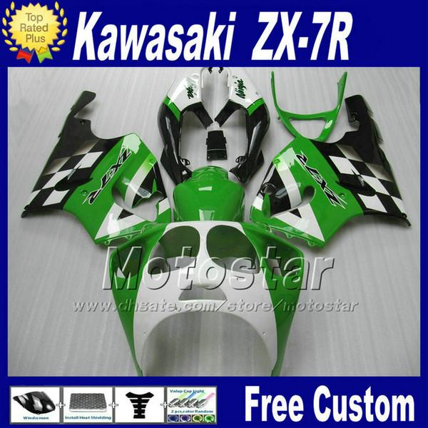 fairing set for KAWASAKI Ninja ZX-7R 1996-2003 ZX7R white green black ABS fairings kit ZX 7R 96 97 98-02 03
