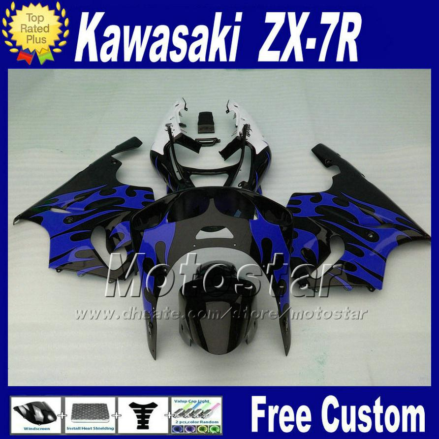 Low price Fairings kit for 1996 - 2003 ZX 7R KAWASAKI Ninja fairing ZX-7R black blue motorcycle parts ZX7R 96-02 03 +7 gifts WT93