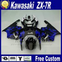 ingrosso carena inferiore per il ninja kawasaki-Kit carene a basso prezzo per 1996 - 2003 ZX 7R KAWASAKI Carena Ninja ZX-7R nero blu parti del motociclo ZX7R 96-02 03 +7 regali WT93