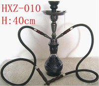 Wholesale 16 Hose - Free shipping 1pcs (40cm)16'' 2 Hose Hookah Complete Set Hookah shisha Water Pipe Black Blue With retail package Gift HXZ010