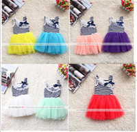 Wholesale Hot Pink Stripe Dress - Hot sell girls stripe lace collar Bowknot tulle tutu dress children vest princess dress kids holiday party dress 7colors In stock 3185