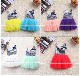 Wholesale Red Striped Tulle Girls Dress - Hot sell girls stripe lace collar Bowknot tulle tutu dress children vest princess dress kids holiday party dress 7colors In stock 3185