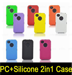 Wholesale S4 Case Screen Protector - Silicone Plastic Defender 2in1 Case Shell for Samsung Galaxy S4 S3 iphone 4S 5S Built in Screen Protector