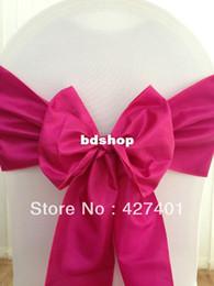 Wholesale Raspberry Decorations - Hot Sale Raspberry-Fuchsia Taffeta Chair Sash For Wedding Event & Party Decoration