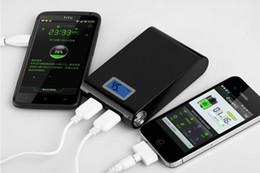 Baterías de sumsung online-Banco de alimentación LCD 12000mAh 1A 2A dos enchufes con iluminación LED Batería externa portátil Paquete de respaldo Dual USB Para iphone sumsung