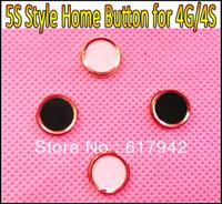 iphone 4gs al por mayor-Para el botón de inicio del iPhone 4G 4S con anillo de metal, como el reemplazo de la llave de inicio del estilo 5S para el iPhone 4 4G 4GS 4S HK Envío gratis