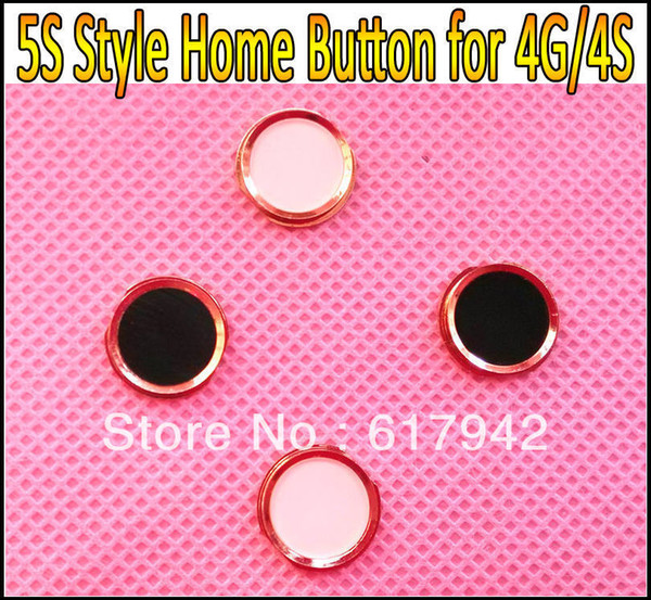 For iPhone 4G 4S Home Button with Metal Ring Like 5S Style Home Key Replacement for iPhone 4 4G 4GS 4S HK Post Free Shipping