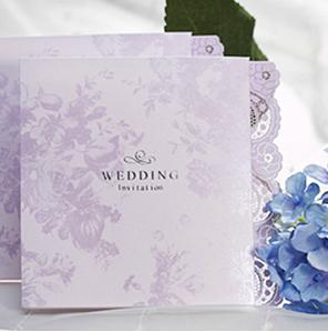 White Wedding Invitations Fashion Lace Light Purple Flower Pure Nature Paper Tri Fold Free Printable Business Meeting Party Birthday Card