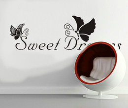 Wholesale Packaging For Sweets - Free Shipping Sweet Dreams Vinyl Lettering Sticker and Butterflies Removable Wall Quote Decal